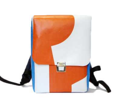 Rucksack aus Upcycling Plane orange-blau